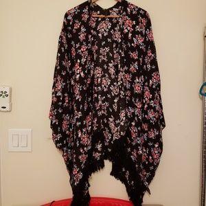 Lane Bryant Kimono Floral Overpiece One Size
